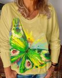 Women's Plus Size Casual Butterfly Flower Blouses Long Sleeve Tops