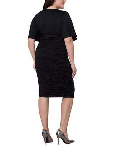 Plus Size Short-sleeved V-neck High-waist Pleated Sexy Slim Dress