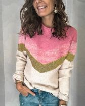 Casual Color-Block Long Sleeve Sweaters