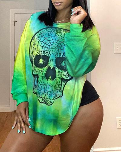 Lovely Casual O Neck Print Green Plus Size Top
