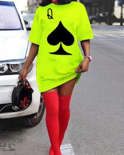 Plus Size Casual Short Sleeve Print Dress
