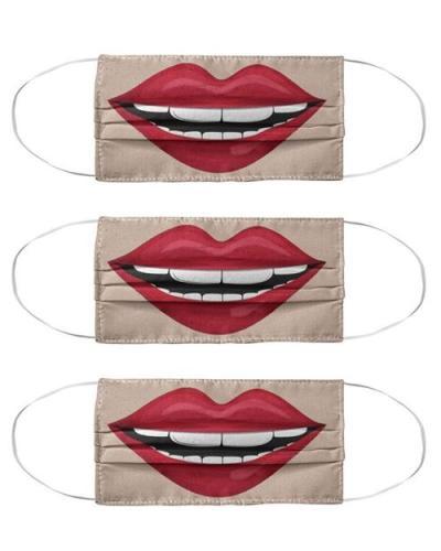 Lip Print Colorblock Breathable Cotton Face Mask
