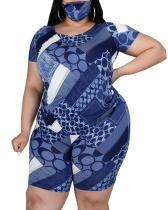 Fashion Casual Regular Sleeve Print Plus Size Set(With Mask)