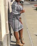 Sexy Fashion Plaid Long Sleeved Dress