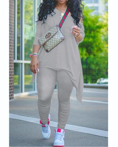 Casual Oblique Collar Long Sleeve Regular Sleeve Solid Plus Size Set
