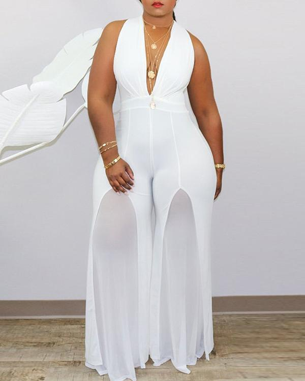 Sexy V Neck Sleeveless Off The Shoulder Solid Plus Size Jumpsuit