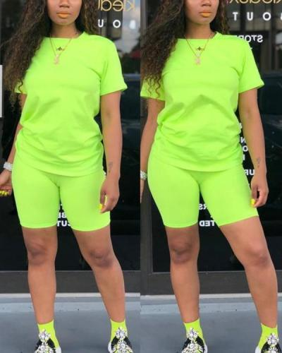 Women Casual Solid Color Sports Suit Female Top Shorts Outfits