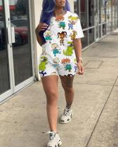 Cartoon Print Shorts Casual Home Two-piece Suit