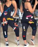 Fashion Casual Cartoon Printed Sling Jumpsuit
