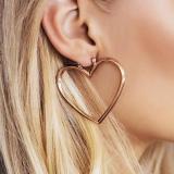 Plated Double Heart Pattern Pierced Drop Earrings