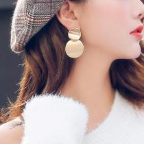 Metal Double Round Earrings