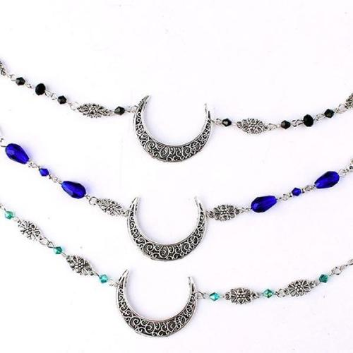 Vintage Moon Pattern Accessories Head Chain Beads Hair Jewelry