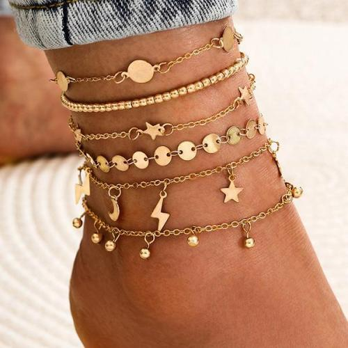 Simple Lightning Moon Star Five-pointed Star Water Drop Tassel Handmade Foot Ornaments 6Pcs Set Anklet