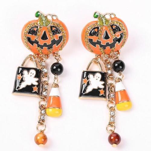 Halloween Pumpkin Pattern Studded Drop Dangle Earrings