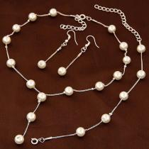 Elegant Pearl Necklace Bracelet Earring Set