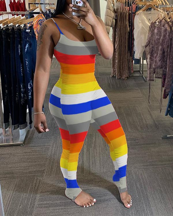 Trendy Rainbow Striped Plus Size One-piece Jumpsuit
