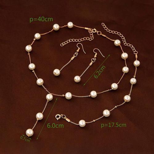 Elegant Pearl Necklace Bracelet Earring Set