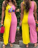 Trendy Patchwork Pink Plus Size One-piece Jumpsuit