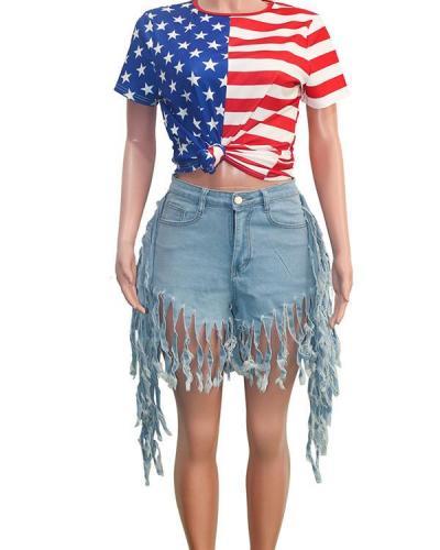 High Waist Pocket Tassel Denim Shorts