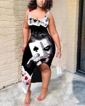 Plus Size Fashion Sleeveless Poker Print Sexy Leg Part Slit Dress