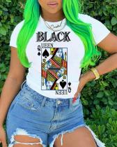 Poker Printed Cross-border Short-sleeved Top