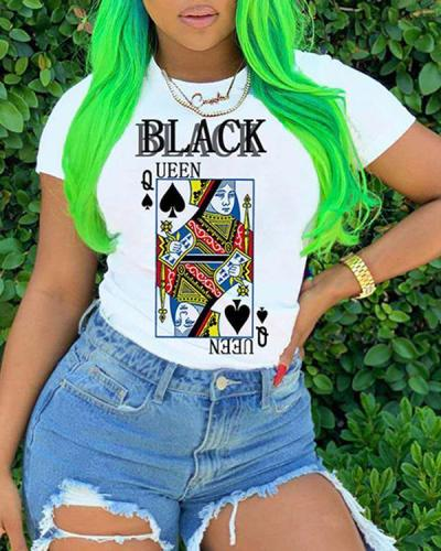 Poker Printed Cross-border Short-sleeved Top