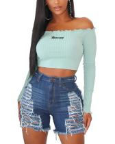Women Sexy Plus Size Ripped Hole High Waist Denim Shorts Jeans