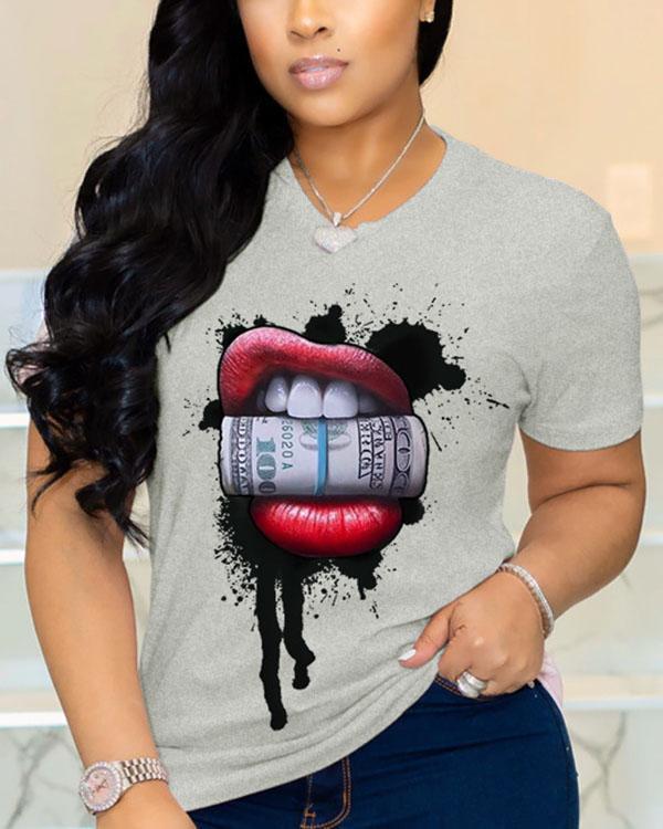 Cotton O Neck Short Sleeve Print Lips Print Tops