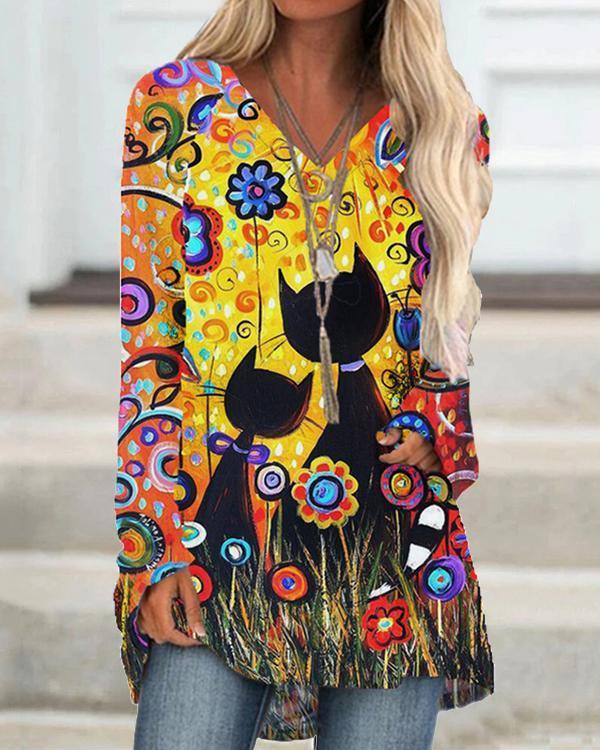 Cartoon Cat Print V-neck Long Sleeve Plus Size Blouse