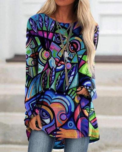 Women GrafftI Print Long Sleeve Irregular Plus Size Blouse