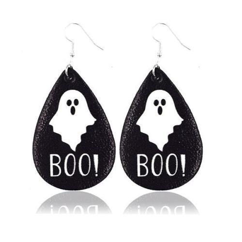 Halloween Graphic Print Fashion PU Leather Earrings