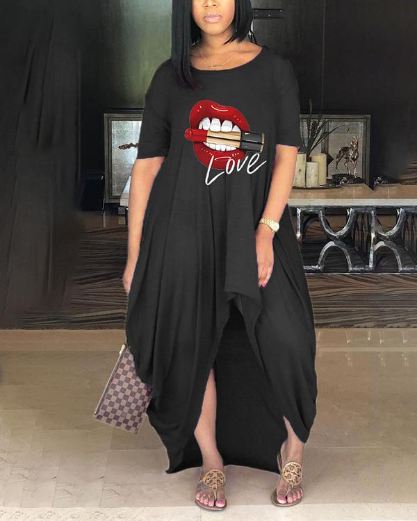 Fashion Casual Short Sleeve Lips Printed Asymmetrical Plus Size Dress