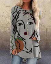 Women Print Long Sleeve Irregular Plus Size Loose Blouse