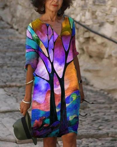 Women's Shift Dress Print Knee Length Dress