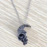 Vintage Half Skull Pendant Necklace Alloy Skull Pendant Gothic Necklace