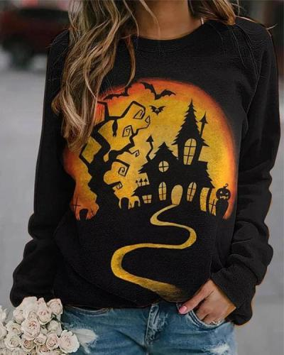 Women Print Casual Long Sleeve Loose Halloween Sweatshirt