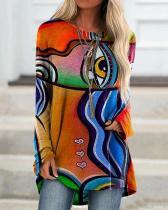 GrafftI Print Long Sleeve Irregular Plus Size Blouse