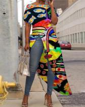 Abstract Art Printing Plus Size Long Blouse