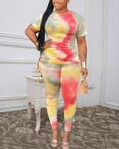 Plus Size Summer Two Piece Tie Dye Pants Set