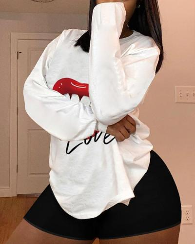 Plus Size Casual Lip Printed Long Sleeve T-Shirt