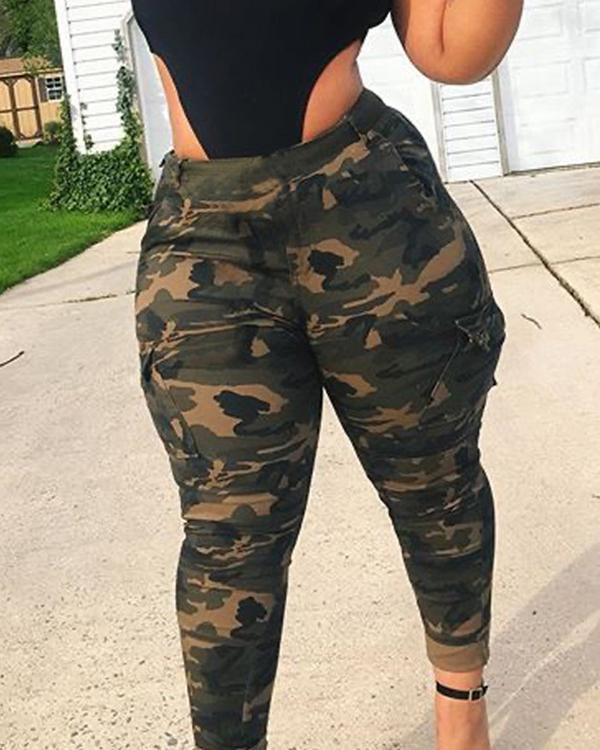 Casual Camo Print Army Green Plus Size Pants