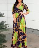 Casual Big Gold Chain Print Big Swing Dress