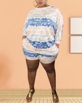 Striped Printing Loose Casual Plus Size Two-piece Suit