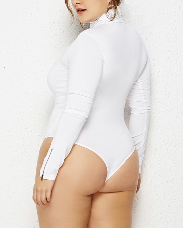 Plus Size Turtleneck Romper Long Sleeve Bodysuit
