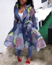 Casual Fashion Print Long Plus Size Coat