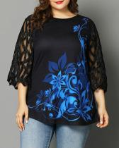 Women's Plus Size Printed Mesh Stitching Top
