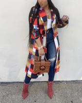 Colorful Lattice Print Turndown Collar Coat