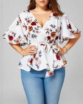 Floral Lace Flared Sleeve Chiffon Shirt Tops