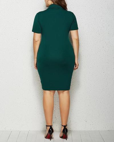 Solid Color Zipper Midi Dress