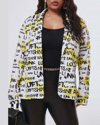 Casual Letter Printed White Jacket